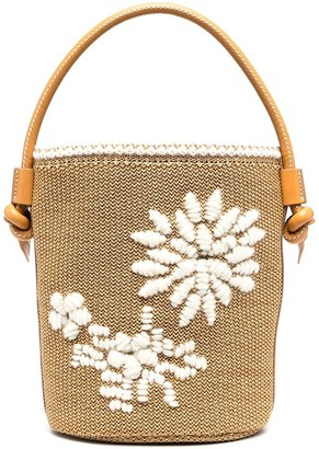 Ermanno Scervino Embroidered Woven Bucket Bag