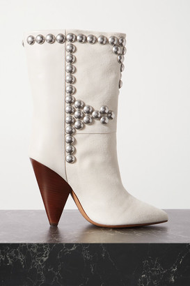 Isabel Marant Layo Studded Leather And Suede Ankle Boots - White