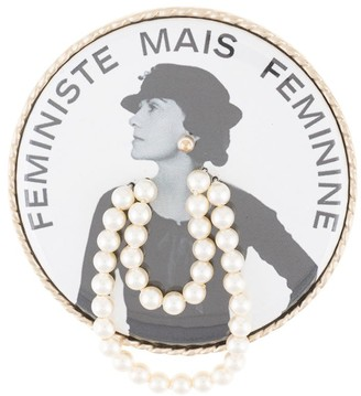 Chanel Pre Owned Feministe Mais Feminine imitation pearl brooch pin corsage