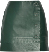 Thierry Mugler Leather Wrap Mini Skirt - Forest green