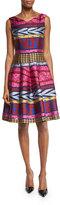 Talbot Runhof Goma Tribal-Print Fit-&-Flare Dress, Pink/Multi