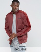 Puma Track Jacket With Velvet Trim In Red Exclusive To ASOS