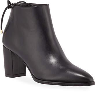 Stuart Weitzman Gardiner Leather Block-Heel Ankle Booties