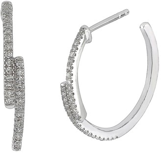 Carriere Sterling Silver Pave Diamond Staggered Hoop Earrings - 0.20 ctw