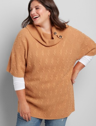 Lane Bryant Lane Essentials Button Cowl-Neck Tunic Sweater