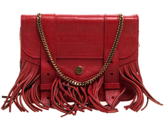 Proenza Schouler Red Leather Fringe PS1 Wallet On Chain