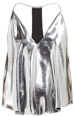 Isabel Marant Racerback Metallic Silk-blend Camisole - Womens - Silver