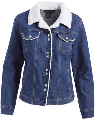 Live A Little Women's Denim Jackets INDIGO - Indigo Sherpa-Trim Denim Jacket - Women