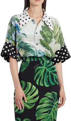Dolce & Gabbana Mixed Polka Dot and Leaf Print Shirt