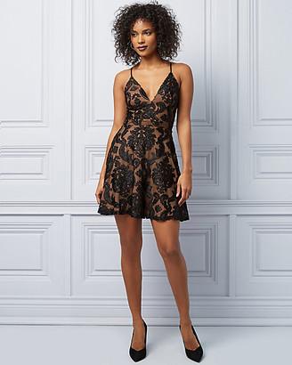 Le Château Lace & Knit V-Neck Racer Back Dress