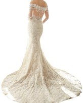 Mella Lace Wedding Dress for Bride 2017 with Sleeves Sweetheart Off-Shoulder Mermaid (US0)