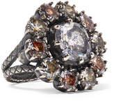 Bottega Veneta Oxidized Silver, Glass And Cubic Zirconia Ring