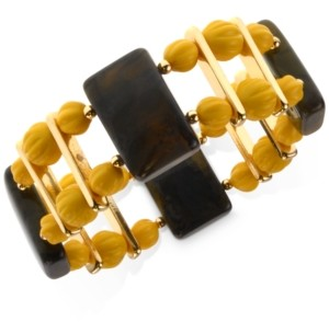 Style&Co. Style & Co Gold-Tone Double-Row Beaded Stretch Bracelet, Created for Macy's
