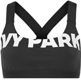 Ivy Park Printed Stretch-jersey And Mesh Sports Bra - Black
