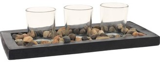 Generic Mainstays Stone Tea Light Candle Garden with 3 Glass Tea Light Candle Holders