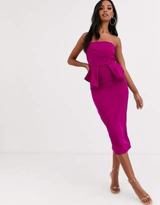 Lipsy strapless peplum detail midi bodycon dress-Pink