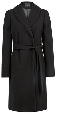 Dorothy Perkins Womens Black Shawl Collar Wrap Coat, Black