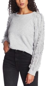 1 STATE Fringe-Sleeve Sweater
