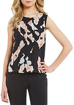 Calvin Klein Pleated Double Layer Chiffon Floral Print Top