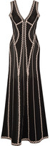 Herve Leger Lineisey Stretch Pointelle-knit Gown - Black