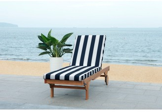 """Safavieh Outdoor Navy/White Striped Adjustable Chaise Lounge - 27.6"""" x 78.7"""" x 14.2"""""""