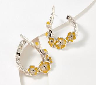 JAI Sterling Silver Enamel Cherry Blossom Hoop Earrings