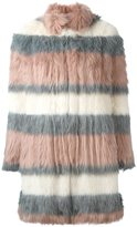 Giamba striped fur coat - women - Modacrylic/Polyester/Cupro - 42