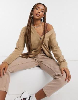 Selected boyfriend wool cardigan in brown