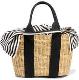Muun Caba Mini Straw And Striped Cotton-canvas Tote - Beige