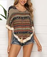 Hope Horizon Women's Blouses print - Navy & Brown Geometric Crochet-Trim Cape-Sleeve Top - Women