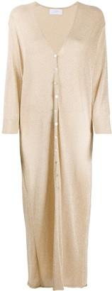 Soallure Long-Line Lurex Cardigan