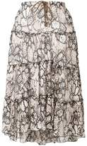 See by Chloe tiered snake-print midi skirt