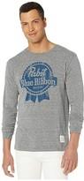 Original Retro Brand The Pabst Blue Ribbon Long Sleeve Vintage Tri-Blend Tee (Streaky Grey) Men's Clothing