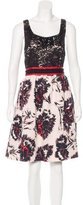Peter Som Lace-Accented Printed Dress