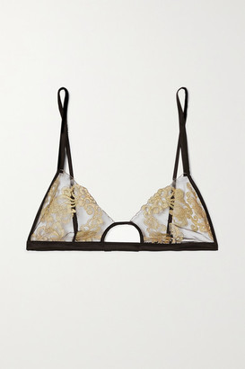 Coco de Mer Hikaru Cutout Metallic Lace And Satin Soft-cup Bra - Black