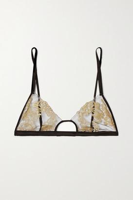 Coco de Mer Hikaru Cutout Metallic Lace And Satin Soft-cup Bra