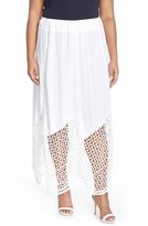 XCVI Plus Size Women's 'Lauryn' Lace Border Midi Skirt