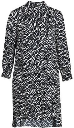 Marina Rinaldi, Plus Size Irregular Button-Front Dotted A-line Dress