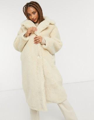 Monki Teddy shearling coat in off white