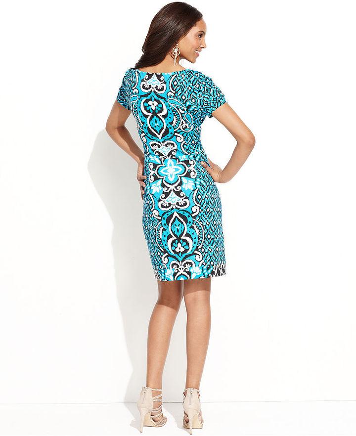 INC International Concepts Petite Dress, Short-Sleeve Exotic-Print Body-Con