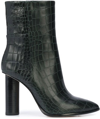Paige Croc Embossed High Heel Boots