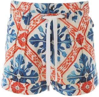 Dolce & Gabbana MAJOLICA PRINT SHORTS 46 White, Blue, Orange Linen
