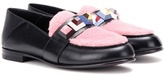 Fendi Embellished Leather And Shearling Loafers