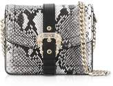 Versace Roccia Python Embossed Leather Shoulder Bag W/ Buckle