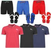 Tokyo Laundry Mens Pack Polo Swim Shorts Board Shorts free Flip Flops Summer