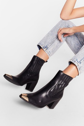 Nasty Gal Womens Get Toe Know Me Heeled Ankle Boots - Black - 5, Black