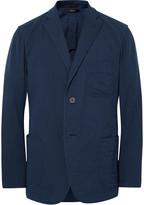Issey Miyake Blue Unstructured Cotton Blazer