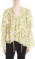 Robert Rodriguez Women's Ruffle Floral Print Silk Blouse