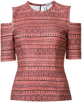 Yigal Azrouel tribal cold shoulder top - women - Polyester/Spandex/Elastane - 0