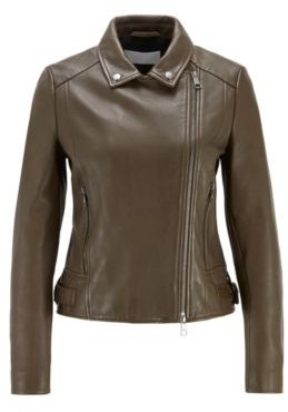 HUGO BOSS Regular-fit leather jacket with asymmetric zip